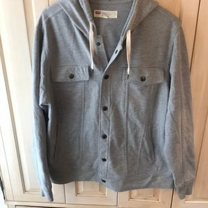Men's sz large grey hooded Levi sweatshirt jacket
